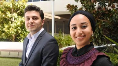 Cultural liaison officers Zouheir Dalati and Engy Abdelsalam at Legal Aid ACT (The Canberra Times, 2017)